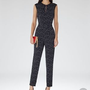 Reiss dark navy and white dotted jumpsuit